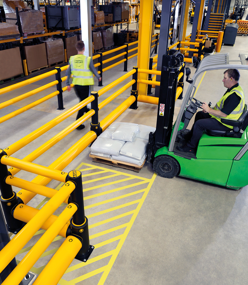 forklift carrying pallet A-SAFE flexible polymer safety guardrail