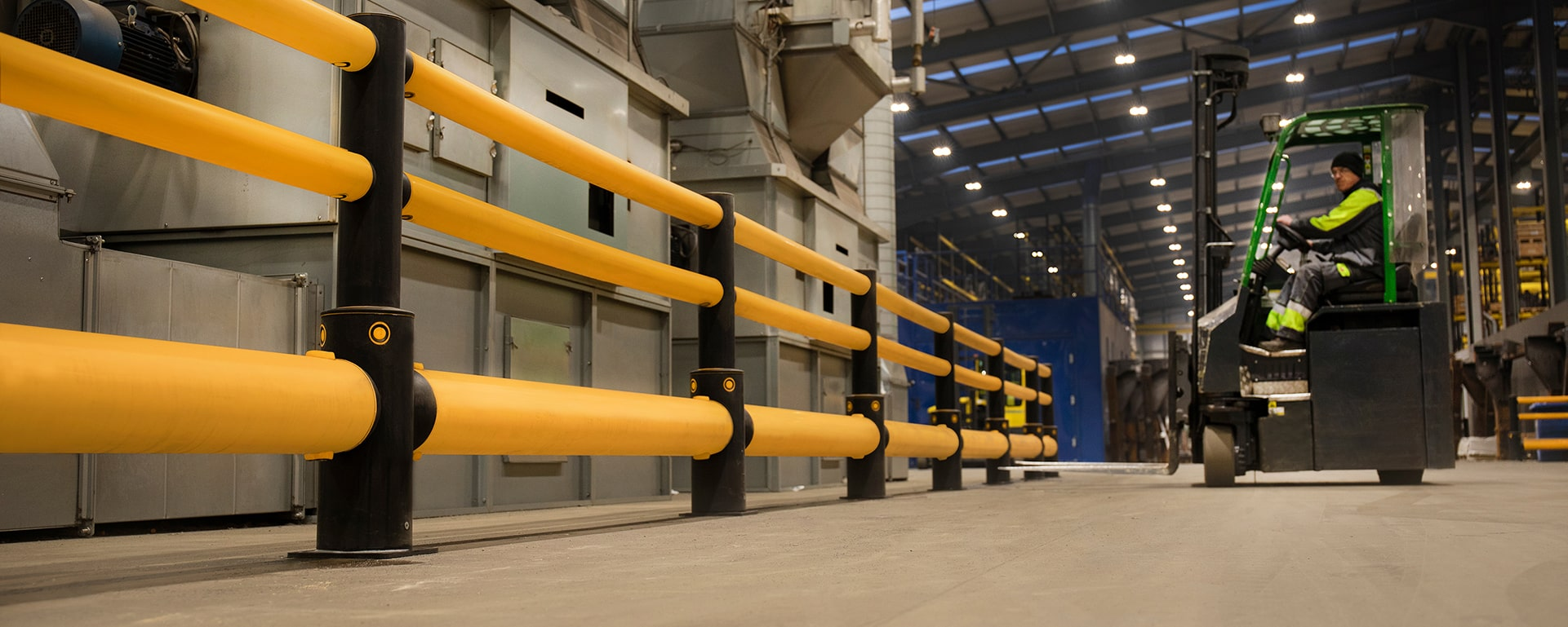 Traffic safety warehouse barriers at Combilift